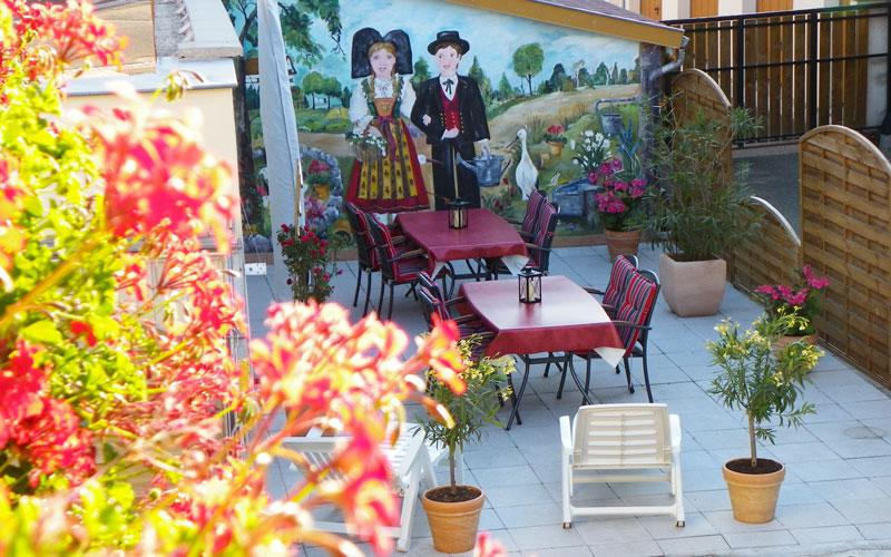 Terrasse, du gîte Ancienne Tannerie, en Alsace près de Strasbourg